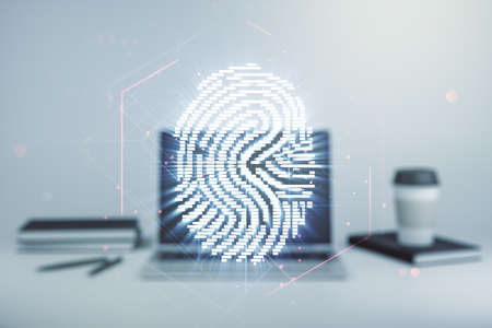 Double exposure of abstract creative fingerprint hologram on laptop background, research and development concept