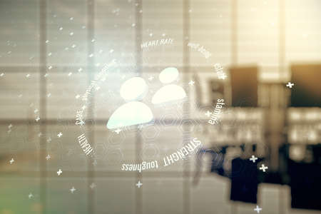 Double exposure of abstract virtual people icons hologram on a modern meeting room background. Online insurance service concept 版權商用圖片