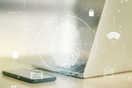 Multi exposure of abstract fingerprint scan interface on computer background, digital access concept
