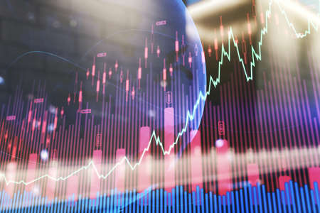 Abstract creative financial graph and world map on blurry contemporary office building background, financial and trading concept. Multiexposure