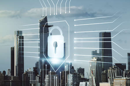 Double exposure of virtual creative lock hologram with chip on New York city skyscrapers background. Information security concept