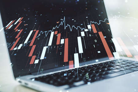 Creative abstract global crisis chart with world map sketch on modern laptop background, falling markets and collapse of global economy concept. Double exposure Foto de archivo
