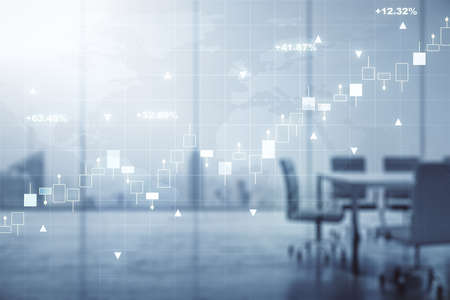 Multi exposure of virtual creative financial graph and world map on a modern conference room background, forex and investment concept