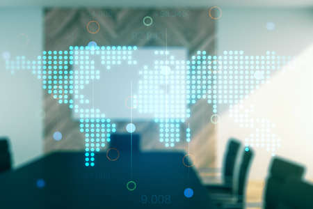 Multi exposure of abstract creative digital world map hologram on a modern conference room background, tourism and traveling concept