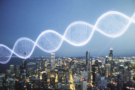 DNA hologram on Chicago cityscape background, science and biology concept. Multiexposure