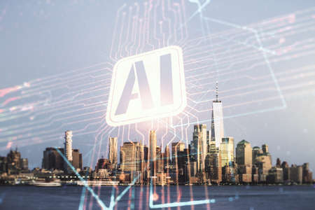 Double exposure of creative artificial Intelligence icon on New York city skyscrapers background. Neural networks and machine learning concept