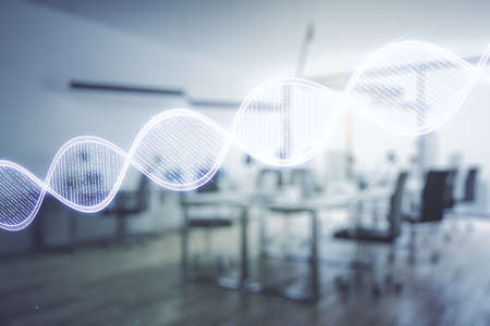 DNA hologram on a modern furnished classroom background, science and biology concept. Multiexposure Standard-Bild