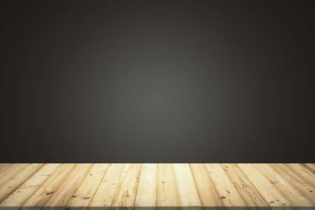 Empty room with wooden floor planks and black gradient background, mock up Archivio Fotografico