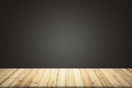 Empty room with wooden floor planks and black gradient background, mock up Reklamní fotografie