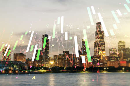 Double exposure of abstract creative financial chart hologram on Chicago skyscrapers background, research and strategy concept