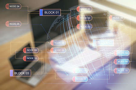 Multi exposure of abstract software development hologram with world map and modern desktop with laptop on background, global research and analytics concept