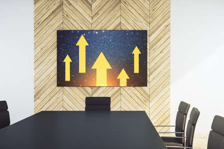 Creative abstract upward arrows hologram on tv display in a modern presentation room, leadership and motivation concept. 3D Rendering