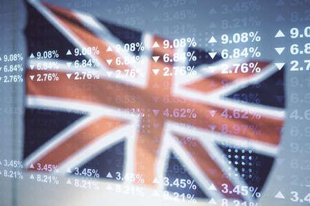 Abstract virtual analytics data spreadsheet on British flag and sunset sky background, analytics and analysis concept. Multiexposure Stock fotó