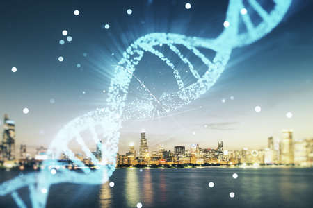 DNA hologram on Chicago office buildings background, biotechnology and genetic concept. Multiexposure