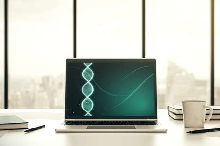 Creative light DNA illustration on modern computer monitor, science and biology concept. 3D Rendering