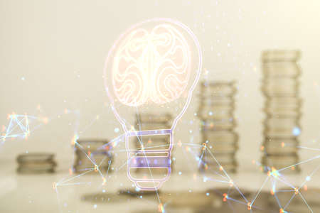Abstract virtual light bulb illustration with human brain on coins background, future technology concept. Multiexposure