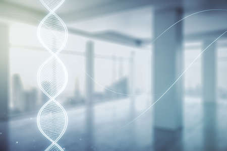 DNA hologram on modern interior background, science and biology concept. Multiexposure