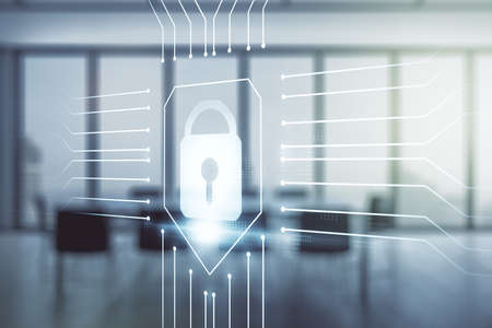 Virtual creative lock sketch with chip hologram on a modern boardroom background, protection of personal data concept. Multiexposure