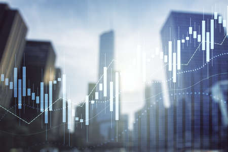 Double exposure of abstract financial graph on office buildings background, forex and investment concept