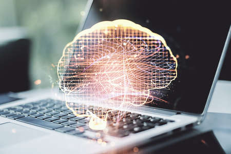 Creative artificial Intelligence concept with human brain sketch on modern computer background. Double exposure