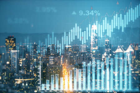 Multi exposure of virtual abstract financial graph interface on San Francisco cityscape background, financial and trading concept