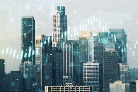 Double exposure of abstract creative financial chart hologram and world map on Los Angeles city skyscrapers background, research and strategy concept