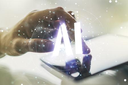 Creative artificial Intelligence symbol concept with finger clicks on a digital tablet on background. Multiexposure Reklamní fotografie