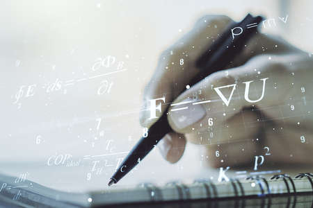 Creative scientific formula hologram with woman hand writing in notepad on background, research concept. Multiexposure Reklamní fotografie