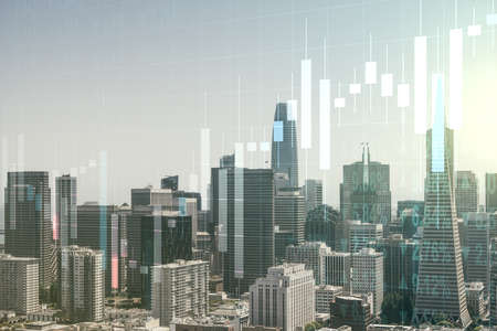 Abstract virtual financial graph hologram on San Francisco cityscape background, financial and trading concept. Multiexposure