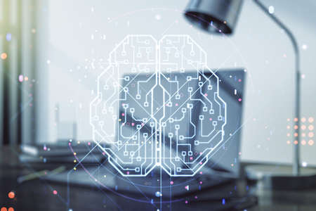 Double exposure of creative artificial Intelligence symbol with modern laptop on background. Neural networks and machine learning concept