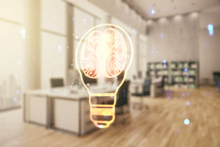 Abstract virtual light bulb illustration with human brain on a modern furnished classroom background, future technology concept. Multiexposure
