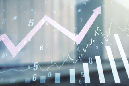 Abstract virtual financial graph hologram and upward arrow on blurry modern office building background, forex and investment concept. Multiexposure