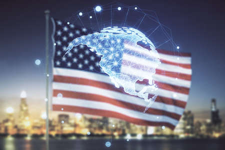 Digital map of North America hologram on US flag and skyline background, global technology concept. Multiexposure
