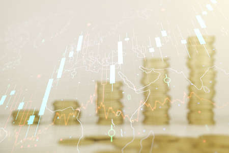 Multi exposure of virtual abstract financial chart hologram and world map on growing stacks of coins background, research and analytics concept
