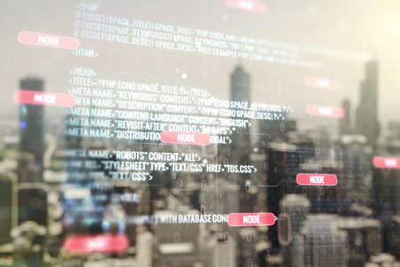 Multi exposure of abstract programming language hologram on blurry office buildings background, artificial intelligence and machine learning concept