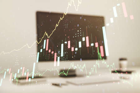 Abstract creative financial graph on modern laptop background, financial and trading concept. Multiexposure