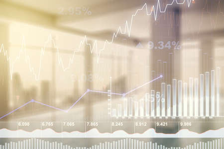 Multi exposure of virtual abstract financial graph interface on modern interior background, financial and trading concept