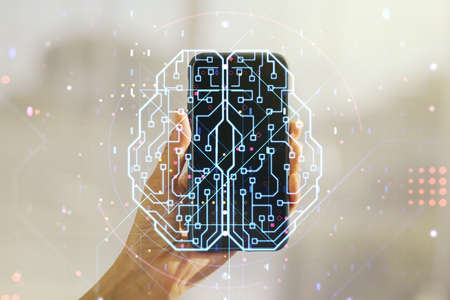 Double exposure of creative human brain microcircuit and hand with cellphone on background. Future technology and AI concept
