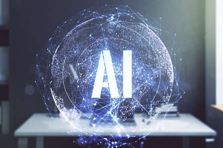 Creative artificial Intelligence symbol concept and modern desktop with pc on background. Double exposure