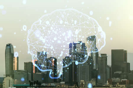 Double exposure of creative human brain microcircuit hologram on Los Angeles office buildings background. Future technology and AI concept