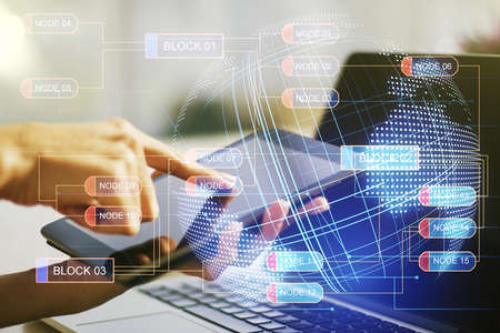 Multi exposure of abstract graphic coding sketch with world map and hand working with a digital tablet on background, big data and networking concept Stock Photo