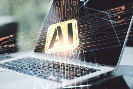 Double exposure of creative artificial Intelligence icon with modern laptop on background. Neural networks and machine learning concept