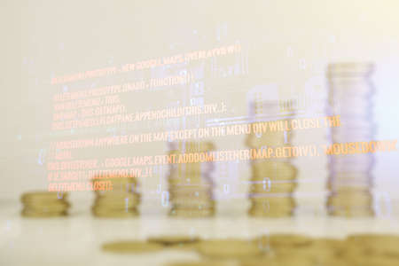 Abstract virtual coding illustration on coins background, software development concept. Multiexposure