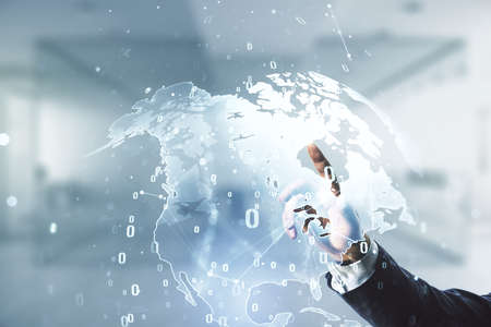 Multi exposure of developers hand working with abstract programming language hologram and world map on blurred office background, artificial intelligence and neural networks concept Standard-Bild