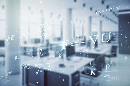 Double exposure of scientific formula hologram on modern corporate office background, research and development concept