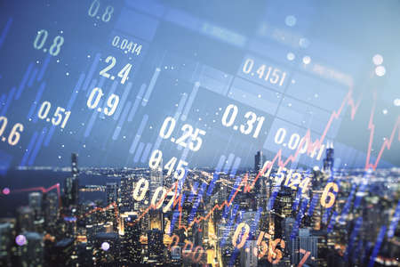Multi exposure of abstract virtual financial graph hologram on Chicago skyline background, forex and investment concept