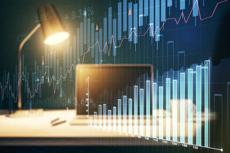 Abstract creative financial graph on modern laptop background, financial and trading concept. Multiexposure Imagens
