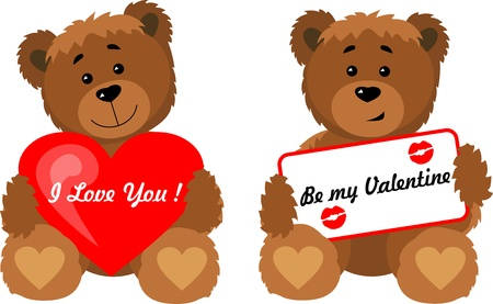 Bears valentine heart  Vector illustration  All the layers separately  Available for editing  Increase to any size without loss of quality Stock Vector - 16842217