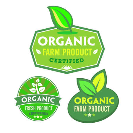 Set of organic-bio labels on the white background. Vector