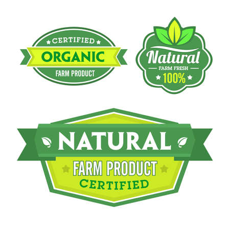 stamp design: Set of organic-bio labels on the white background.